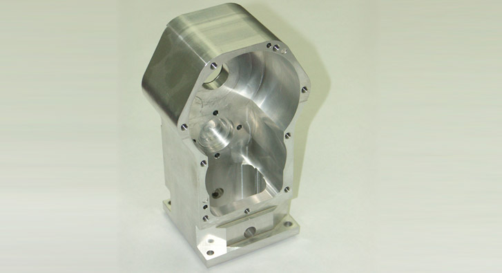 Single-piece milled hand-cranked gearbox drive housing.